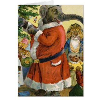 El elefante de Santa celebra el navidad animal Felicitaciones