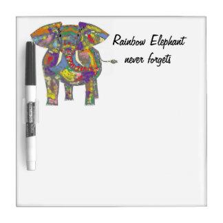 El elefante del arco iris nunca olvida tablero blanco