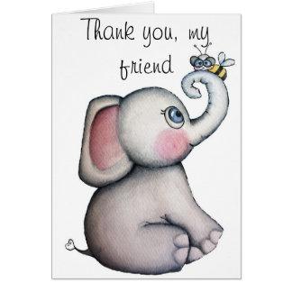 El elefante del bebé con la abeja le agradece card tarjeta de felicitación