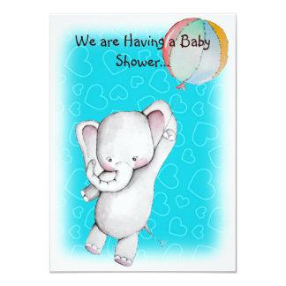 """El elefante del bebé con la fiesta de bienvenida invitación 4.5"""" x 6.25"""""""