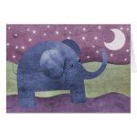 El elefante desea sobre una estrella - tarjeta de