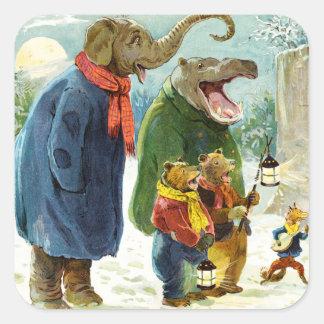 El elefante, el Hippopotamus y los osos van Pegatina Cuadrada