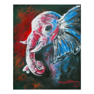 El elefante elegante inteligente póster