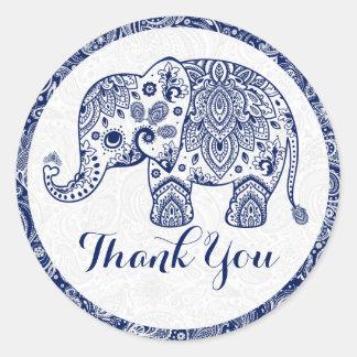 El elefante floral azul de Paisley le agradece Pegatina Redonda