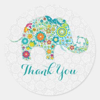 El elefante floral lindo colorido le agradece pegatina redonda