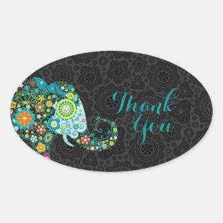 El elefante floral retro colorido le agradece 2 pegatina ovalada