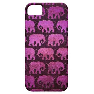 El elefante gastado siluetea el modelo, púrpura iPhone 5 Case-Mate coberturas