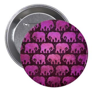 El elefante gastado siluetea el modelo, púrpura pin redondo de 3 pulgadas