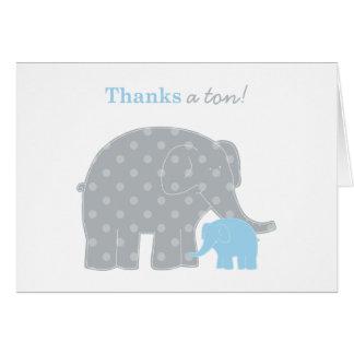 El elefante le agradece gris azul claro de la tarjeta pequeña