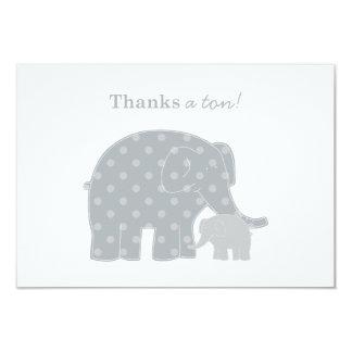 """El elefante le agradece plata plana y gris de las invitación 3.5"""" x 5"""""""