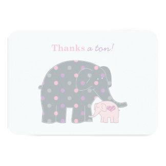 El elefante le agradece púrpura rosada plana de comunicados personalizados