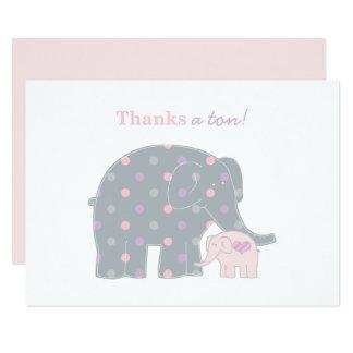 """El elefante le agradece púrpura rosada plana de invitación 3.5"""" x 5"""""""