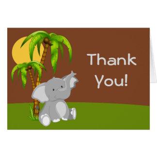 El elefante lindo del bebé de la selva le agradece tarjetón