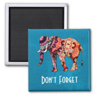El elefante multicolor colorido no olvida imán cuadrado