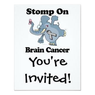 """El elefante pisa fuerte en cáncer de cerebro invitación 4.25"""" x 5.5"""""""