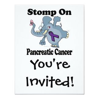 """El elefante pisa fuerte en cáncer pancreático invitación 4.25"""" x 5.5"""""""