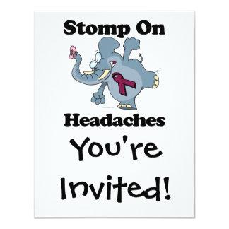"""El elefante pisa fuerte en dolores de cabeza invitación 4.25"""" x 5.5"""""""