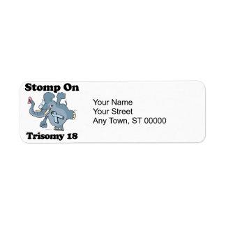El elefante pisa fuerte en el Trisomy 18 Etiquetas De Remite