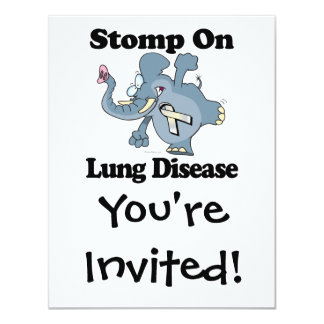 """El elefante pisa fuerte en enfermedad pulmonar invitación 4.25"""" x 5.5"""""""