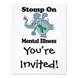 """El elefante pisa fuerte en la enfermedad mental invitación 4.25"""" x 5.5"""""""