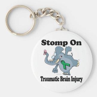 El elefante pisa fuerte en lesión cerebral traumát llavero redondo tipo pin