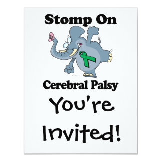"""El elefante pisa fuerte en parálisis cerebral invitación 4.25"""" x 5.5"""""""