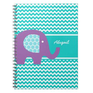 El elefante púrpura en Chevron personalizó el Libreta Espiral