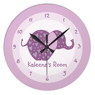 El elefante púrpura personalizado embroma el reloj redondo grande