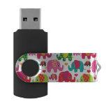 el elefante retro embroma el papel pintado del memoria USB 2.0 giratoria