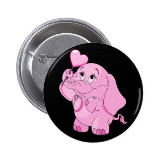 El elefante rosado de la tarjeta del día de San Pin Redondo De 2 Pulgadas