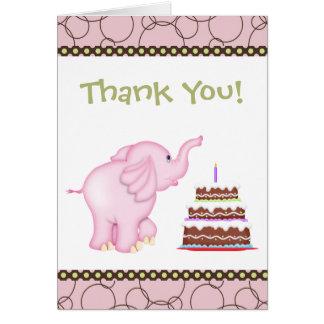 El elefante rosado le agradece cardar felicitación