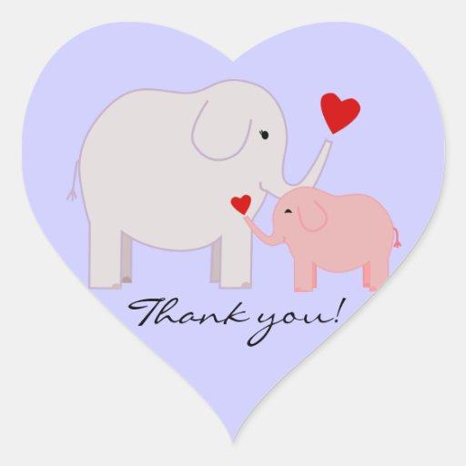 El elefante rosado le agradece los pegatinas colcomanias corazon personalizadas