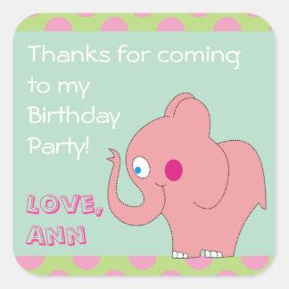 El elefante rosado le agradece los pegatinas de la pegatina cuadrada