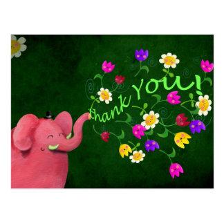 El elefante rosado lindo le agradece postales