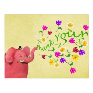 El elefante rosado lindo le agradece tarjetas postales