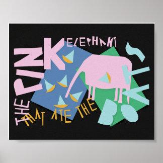 El elefante rosado que comió los barcos póster