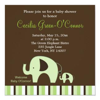 """El elefante verde (neutral del muchacho o del invitación 5.25"""" x 5.25"""""""