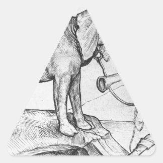 El elefante y su instructor de Martin Schongauer Pegatina Triangular