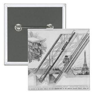 El elevador de Otis en la torre Eiffel Pin Cuadrado