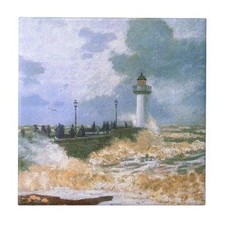 El embarcadero en Le Havre de Claude Monet Azulejo Cuadrado Pequeño