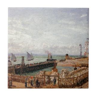 El embarcadero, Le Havre, alta marea, mañana Sun Azulejo Cuadrado Pequeño