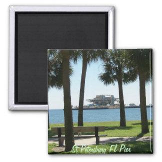 El embarcadero St Petersburg la Florida Imán Cuadrado