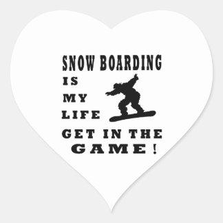 El embarque de la nieve es mi vida pegatinas corazon
