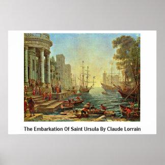 El embarque de Santa Ursula de Claude Lorrain Posters