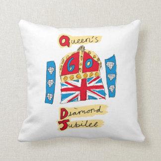 El emblema del jubileo del diamante de la reina cojín