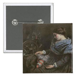 El Embroiderer durmiente, 1853 Pin Cuadrada 5 Cm