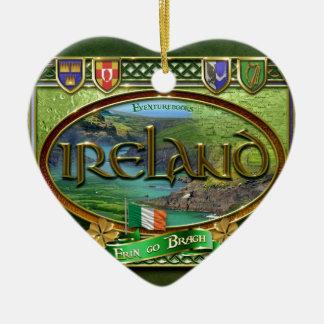 El Emerald Isle Adorno Navideño De Cerámica En Forma De Corazón
