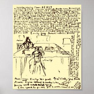 El ~ Emily de Brontes y papel del diario de Anne r Póster