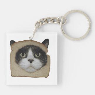 El empanar empanado del gato de Inbread Llavero Cuadrado Acrílico A Doble Cara