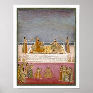 El emperador joven Mohamed Shah de Mughal en un na Póster